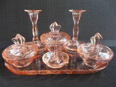 Art Deco Era Bernsdorf Renate Pattern Pink Gl Dressing Table Set C1937