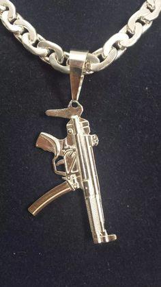 pingente para corrente cordao de prata  fuzil  950k