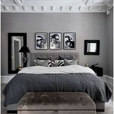 Grey and white interior design ideas grey and white bedroom ideas . grey and white interior design ideas grey bedroom Black And Grey Bedroom, Grey Bedroom Design, White Bedroom Decor, Grey Room, Room Ideas Bedroom, Home Decor Bedroom, Grey Bedroom Colors, Grey Interior Design, Grey Bedroom Walls