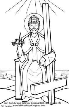 Saint Peter holding the keys to the kingdom Catholic Coloring Page Nativity Coloring Pages, School Coloring Pages, Coloring Pages For Kids, Catholic Crafts, Catholic Kids, Catholic Saints, Catholic School, Detailed Coloring Pages, Colouring Pages