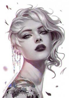 Tattoo Girl Illustration Portraits 48 Best Ideas - My most beautiful tattoo list Character Portraits, Character Art, Girl Portraits, Pop Art, Digital Art Girl, Fantasy Girl, Face Art, Girl Tattoos, Portrait Tattoos