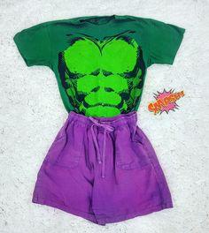 Thrift Store Cosplay Day 12 flat lay Hulk Smash fashion blog post Avengers Marvel