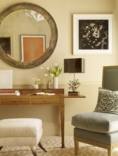 neutral colors, white and wood for home office