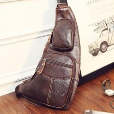 8e9ead879656 High Quality Men Genuine Leather Cowhide Vintage Sling Chest Back Day Pack  Travel fashion Cross Body Messenger Shoulder Bag(China)