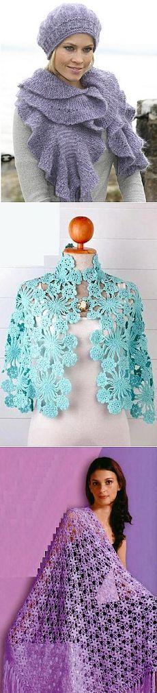 Вязание крючком шали и шарфы