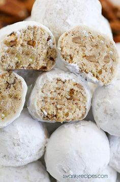 holiday cookies Pecan Snowballs - This easy pecan snowball cookie recipe is a holiday classic and deserves a spot on your holiday cookie tray! A new improved version! Buttery vanilla shortbread cookies with ground pecans the whole family will love! Holiday Cookie Recipes, Easy Cookie Recipes, Holiday Cookies, Holiday Baking, Christmas Desserts, Christmas Baking, Best Christmas Cookies, Italian Christmas, Cheap Recipes