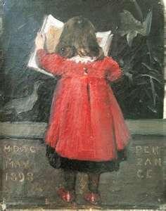 """Little Girl Reading A Book"" (portrait of the artist's daughter, Alethea Garstin) by Garstin Norman, 1898"