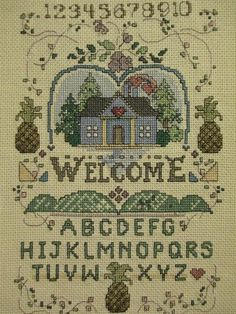 Beautiful Finished Completed Cross Stitch Welcome Alphabet Sampler 1993 | eBay