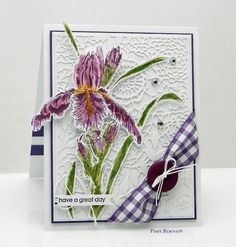 handmade card from Peets Scrapalbum ... botanical iris colored watercolor style ... luv the lacy look of the all over background die cut ... fun corner ribbon wrap with button and bow ... Penny Black