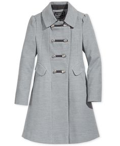 fbf87a3c36e Rothschild Girls  Grey Military Faux Wool Coat - Young Timers Boutique