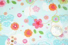 Stoff Blumen - Stoff,hellblau,hellblau,rosa pink geblümt,Jersey - ein Designerstück von kinderzimmerwelt bei DaWanda
