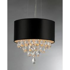 @Overstock.com - Sophie Crystal Chandelier - Add some elegance to your home with this crystal chandelier. This dynamic lighting element features generous rows of cascading crystals to catch the light along with a bold black shade.  http://www.overstock.com/Home-Garden/Sophie-Crystal-Chandelier/8300318/product.html?CID=214117 $141.99