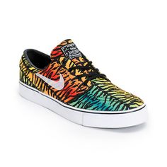 """The Zoom Stefan Janoski """"Rainbow Tiger Stripe"""" Chilling Red, White-Lucid Green-Turbo Yellow features a bold all-over animal print in vibrant rainbow colors, with a trans"""