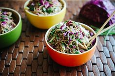 Asian Noodle Salad (soba noodles, sesame seeds, cilantro, red cabbage, chives, cucumber, sesame oil, tamari, balsamic, maple syrup)