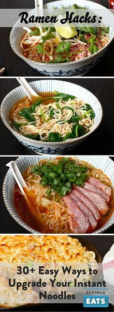 Ramen Hacks: 30 Easy Ways to Upgrade Your Instant Noodles Soup Recipes, Cooking Recipes, Healthy Recipes, Ramen Noodle Recipes, Easy Ramen Recipes, Noddle Recipes, Ramen Noodle Bowl, Recipies, Easy Japanese Recipes