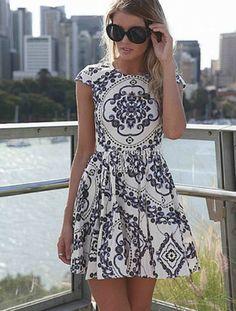 porcelain printed short sleeve skater dress