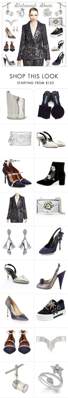 """""""Double Take: Statement Shoes"""" by yours-styling-best-friend ❤ liked on Polyvore featuring Alexis Bittar, Jacquemus, Anya Hindmarch, Oscar de la Renta, Malone Souliers, Steven, Jimmy Choo, Alexander McQueen, Eddie Borgo and Quoizel"""