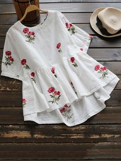 Sweet Floral Embroidery Low Blouse Shirt Women Ladies Short Sleeve White Tops O-Neck Casual Cute Blouse Blusas Cute Blouses, Shirt Blouses, Blouses For Women, Cheap Blouses, Frill Blouse, Linen Blouse, Peplum, Mode Hijab, Stylish Dresses