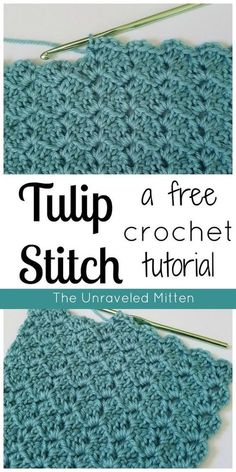 Stitch: A Free Crochet Tutorial Learn to Crochet the Tulip Stitch! This quick working zig-zag patterned stitch is perfect for your next crochet project.Learn to Crochet the Tulip Stitch! This quick working zig-zag patterned stitch is perfect for your next Stitch Crochet, Crochet Motifs, Crochet Stitches Patterns, Stitch Patterns, Knitting Patterns, Crochet Afghans, Crochet Granny, Free Knitting, Knit Stitches
