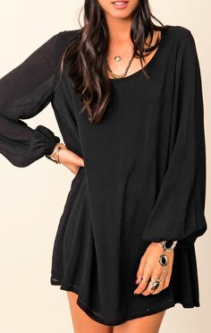 Black long sleeved shift dress