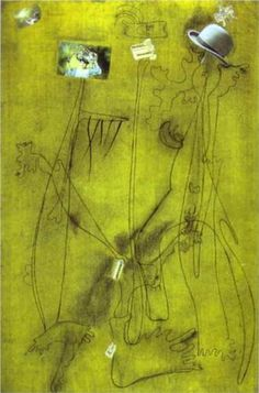 Drawing-Collage with a Hat - Joan Miro 1933, collage and pencil on paper 106.7x69.9 cm