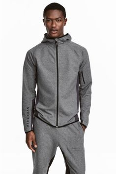Casaco de desporto com capuz - Cinzento escuro mesclado - HOMEM | H&M PT 1
