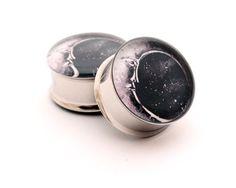 Moon Picture Plugs gauges 00g 1/2 9/16 by mysticmetalsorganics. $19.99, via Etsy.