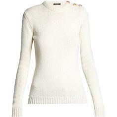 Button-shoulder crew-neck sweater Balmain MATCHESFASHION.COM ($970) via Polyvore featuring tops, sweaters, button top, white crew neck sweater, white sweaters, white button top and white button sweater