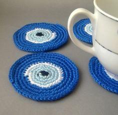 Evil Eye Coasters set of 4 christmas hostess by sabahnur on Etsy