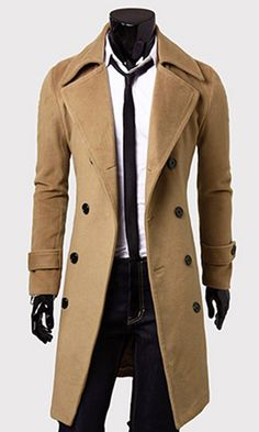 Solid Color Turndown Collar Double-Breasted Design Long Sleeves Woolen Trench Coat For Men