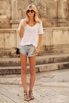 cheap for discount bbf83 e2c92 Dress up your basic tee and jean shorts look with studded summer gladiator  sandals. These