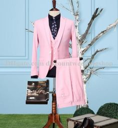 New Design One Button Pink Groom Tuxedos Peak Lapel Groomsmen Mens Wedding Tuxedos Prom Suits Jacket+Pants+Vest+Tie NO:1341 from Discountweddingshop,$86.0 | DHgate.com