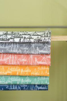 Bateau tissu Orange Design de tissu Original dessiné par auntjune