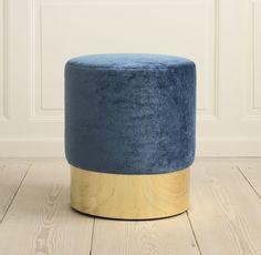 Azucena, Contemporary, Italy. Designed by Luigi Caccia Dominioni, 1963   Stool. Velvet upholstery and polished brass base. H43,5 cm x Ø40 cm