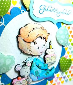 """Birthday card for a little boy - """"Birthday Baby Boy"""" Whimsy Stamps; Designerpaper """"Calendar Girl"""" BoBunny; Ballo die Marianne Design; Sentiment Marianne Design; Colored with TwinklingsH2O; glue for 3D technic Olba"""