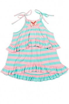 Soft mint and light pink stripes are the perfect color combo for this cool summer top. Tiered ruffles, self-tie shoulders, organic cotton jersey. By Paper Wings Clothing.