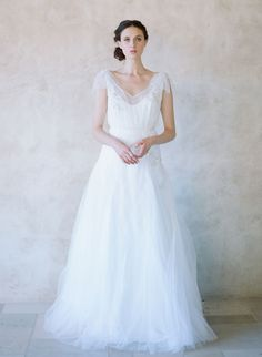 Opal - Silk tulle bow sleeve gown - Style #TH008 | Twigs & Honey ®, LLC
