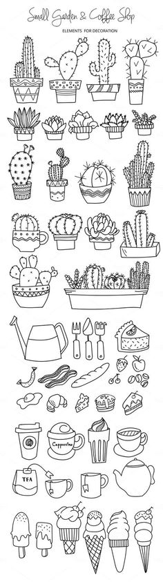 200 Doodle Ideas To try In Your Bullet Journal/ Decorate your Bujo with these doodles. From cute cactus doodles, to sea life, to cute little food. Dress up your Bullet Journal! Doodle Drawings, Doodle Art, Cartoon Drawings, Doodle Fonts, Garden Coffee, Bullet Journal Inspiration, Doodle Inspiration, How To Draw Hands, Graphics