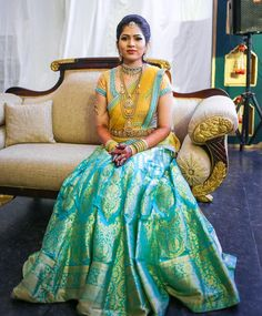 64 Ideas For Indian Bridal Reception Dress Color Combinations Half Saree Lehenga, Lehenga Style, Saree Dress, Bridal Lehenga, Lehenga Blouse, Silk Lehenga, Wedding Sarees, Silk Sarees, Wedding Dresses