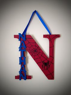 Super Hero Hand Painted Personalized Letter with Name on Etsy, $20.00
