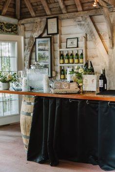 Cocktail hour bar inspiration, wedding bar, wine barrel, wood cottage bar, southern maryland wedding, outdoor wedding, simple wedding