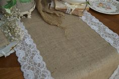"""Burlap and Lace Table Runner 90"""" by18"""" Double White Lace Border Barn Wedding Rustic Wedding Shabby Chic Farmhouse Chic Prairie Soft Romantic..."""