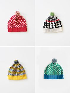 Toque is a distinctly Canadian word and describes what are otherwise known as beanies, knitted caps or stocking hats. Hmm… But toque is just way more fun to say! Whatever the name, it is hard to resist these superbly knit, patterned hats from ALL Knitwear by Annie Larson. Modern 80′s winter fashion (with some rather awesome pom-poms)…