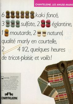 100 Idées n° 108 - octobre 1982 - publicité pour les fils Chanteleine. J'adore la combinaison de couleurs !
