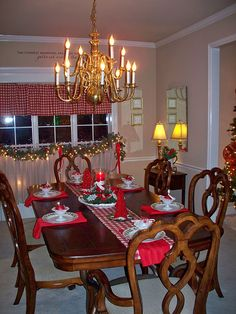 Wonderful Christmas table decoration. Red and white.