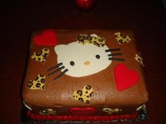 hello kitty cake:  Used half sheet cake pan then cut in half, to yield higher 1/4 sheet. I Then frosted with French chocolate butter cream. Used hello kitty print out to