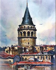 Galata kulesi İstanbul Watercolor Sketch, Watercolor Landscape, Watercolor Illustration, Landscape Art, Watercolor Paintings, Pre Raphaelite Paintings, Cool Doodles, Beautiful Paintings, House Painting