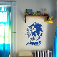 Vinyl Wall Decal Art Sticker - Sonic the Hedgehog Personalized With A Name Of Your Choice - Medium size. $26.00, via Etsy.
