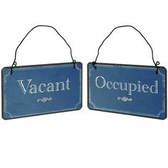 Bathroom Sign Vacant vacant/occupied double sided bathroom sign (white)