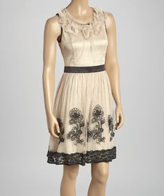 Love this Beige & Black Floral Lace A-Line Dress on #zulily! #zulilyfinds